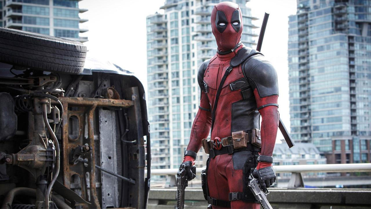 Marvels character Deadpool is shown in a still from the self-titled movie.