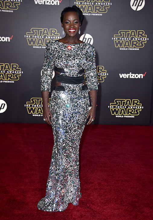 <div class='meta'><div class='origin-logo' data-origin='AP'></div><span class='caption-text' data-credit='Photo by Jordan Strauss/Invision'>Lupita Nyong'o arrives at the world premiere of 'Star Wars: The Force Awakens' at the TCL Chinese Theatre on Monday, Dec. 14, 2015, in Los Angeles.</span></div>