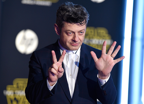 <div class='meta'><div class='origin-logo' data-origin='AP'></div><span class='caption-text' data-credit='Photo by Jordan Strauss/Invision'>Andy Serkis arrives at the world premiere of 'Star Wars: The Force Awakens' at the TCL Chinese Theatre on Monday, Dec. 14, 2015, in Los Angeles.</span></div>