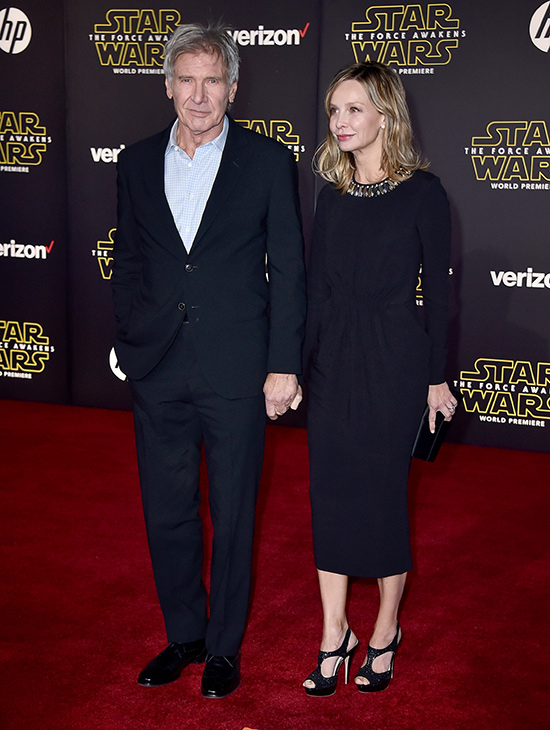 <div class='meta'><div class='origin-logo' data-origin='AP'></div><span class='caption-text' data-credit='Photo by Jordan Strauss/Invision'>Harrison Ford, left, and Calista Flockhart arrive at the world premiere of 'Star Wars: The Force Awakens' at the TCL Chinese Theatre on Monday, Dec. 14, 2015, in Los Angeles.</span></div>