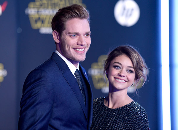 <div class='meta'><div class='origin-logo' data-origin='AP'></div><span class='caption-text' data-credit='Photo by Jordan Strauss/Invision'>Dominic Sherwood, left, and Sarah Hyland arrive at the world premiere of 'Star Wars: The Force Awakens' at the TCL Chinese Theatre on Monday, Dec. 14, 2015, in Los Angeles.</span></div>