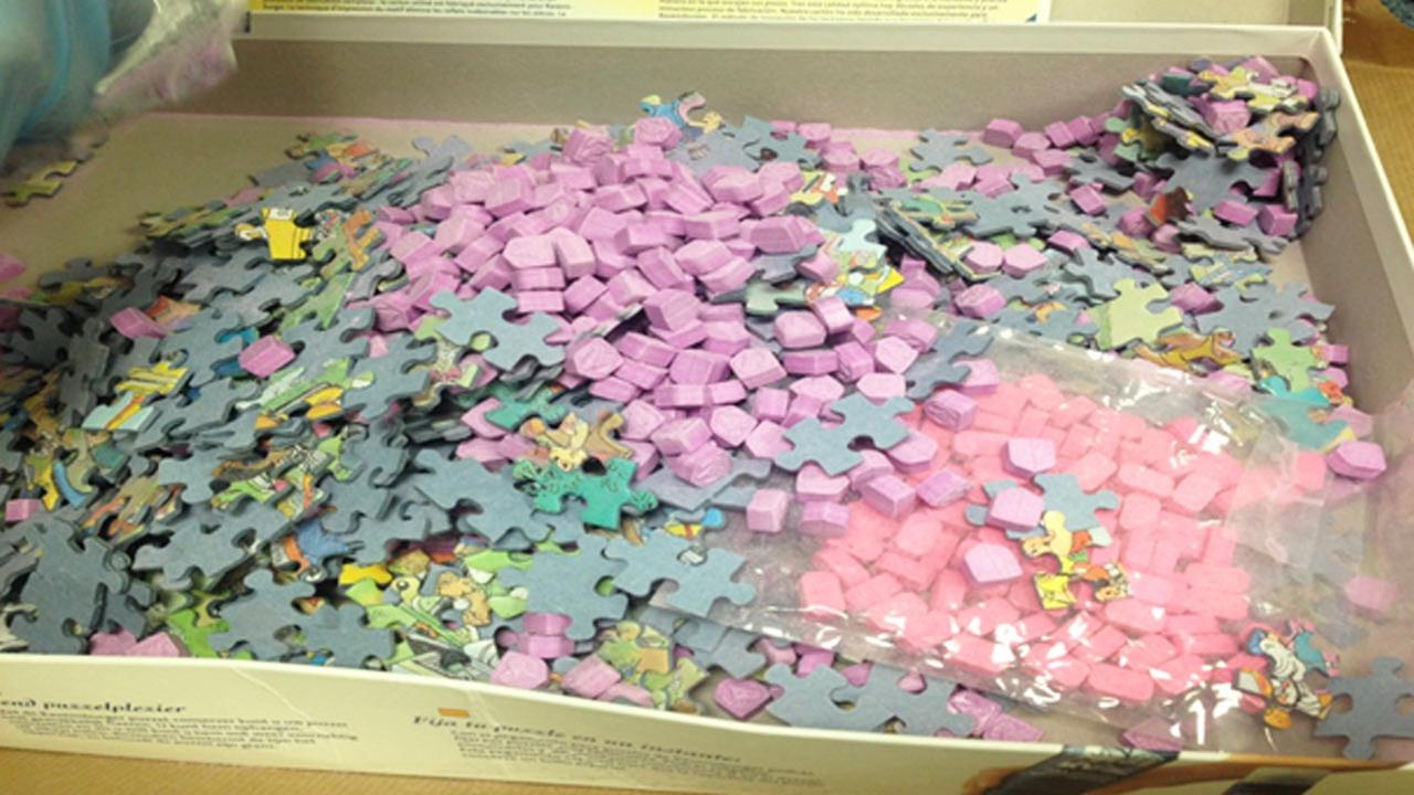 Riverside police released this photo of a puzzle box stuffed with drugs, which officials say was shipped from the Netherlands to a home in the 3000 block of Iowa Avenue.