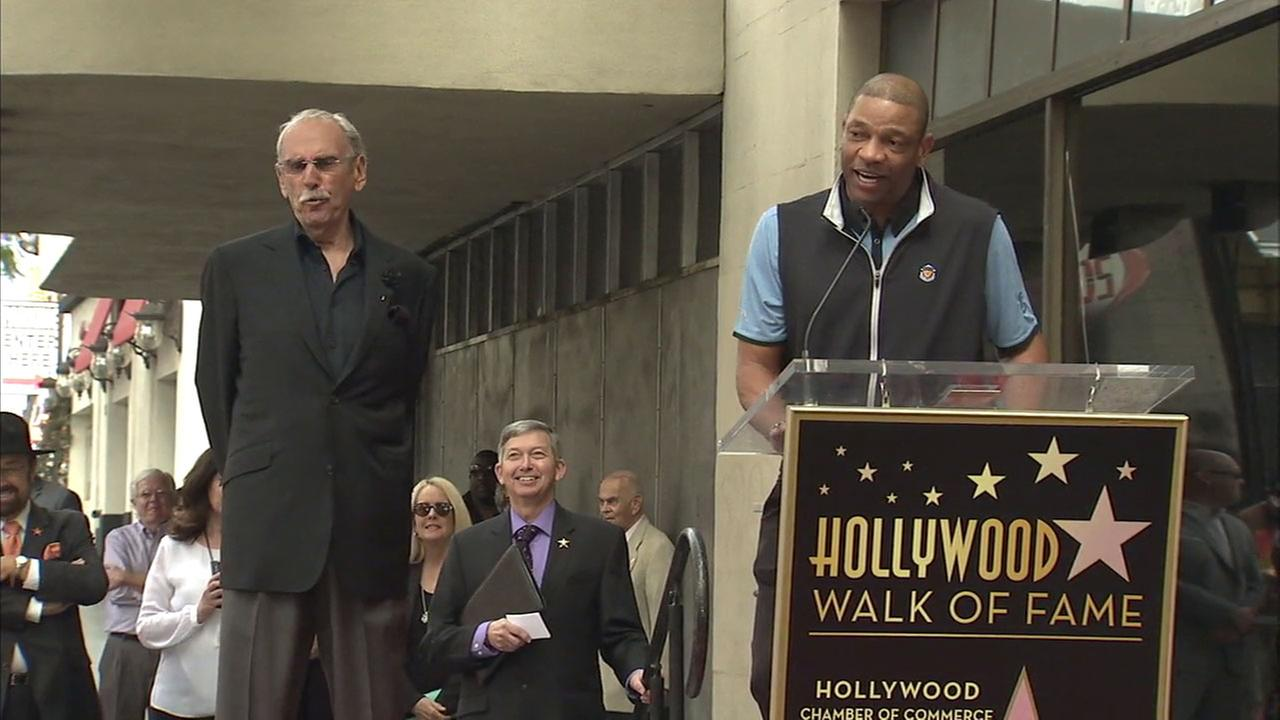 Clippers coach Doc Rivers introduces Ralph Lawler at the broadcasters Hollywood Walk of Fame ceremony on Thursday, March 3, 2016.