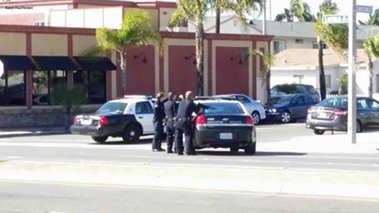 Anaheim police respond to a trouble call at a Subway in Anaheim, Calif. on Sunday, March 6, 2016.