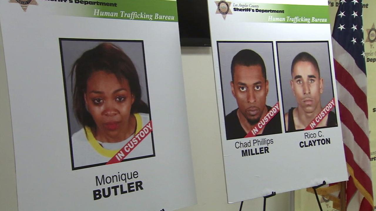 Three suspects - Monique Butler, Chad Miller and Rico Clayton - are shown in undated mugshots.