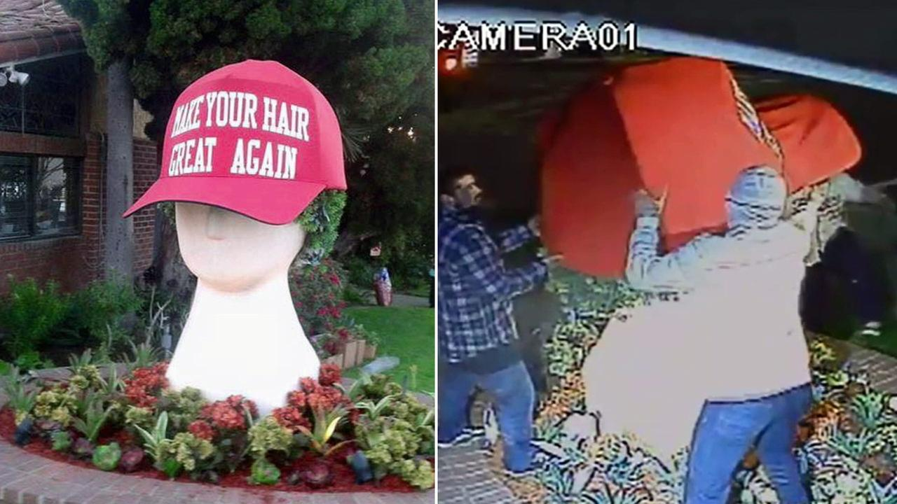 Surveillance video showed a giant Donald Trump-like hat being stolen from outside Joe Oliveri Hair Design in Redondo Beach on Tuesday, March 8, 2016.