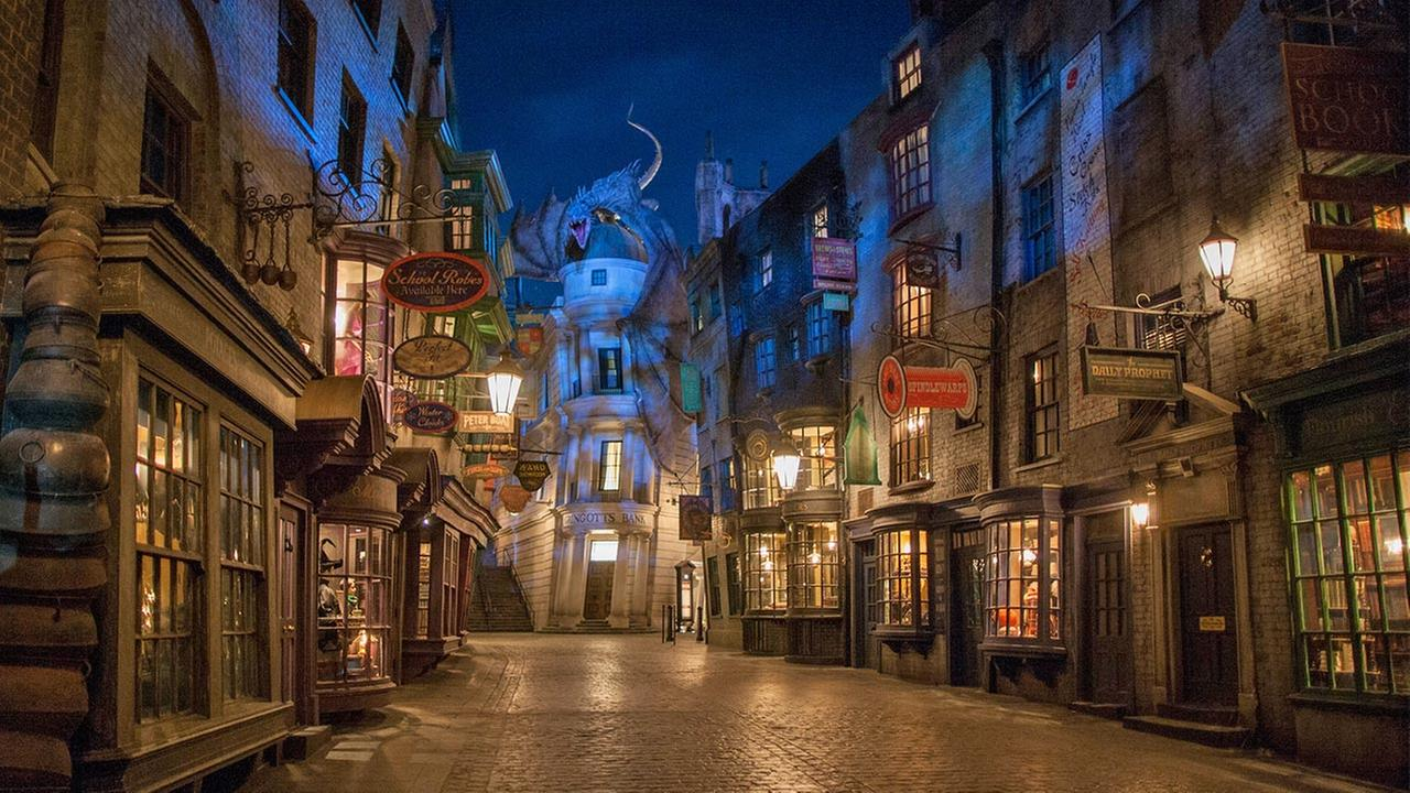 This June 2014 photo released by Universal Orlando Resort shows The Wizarding World of Harry Potter - Diagon Alley.