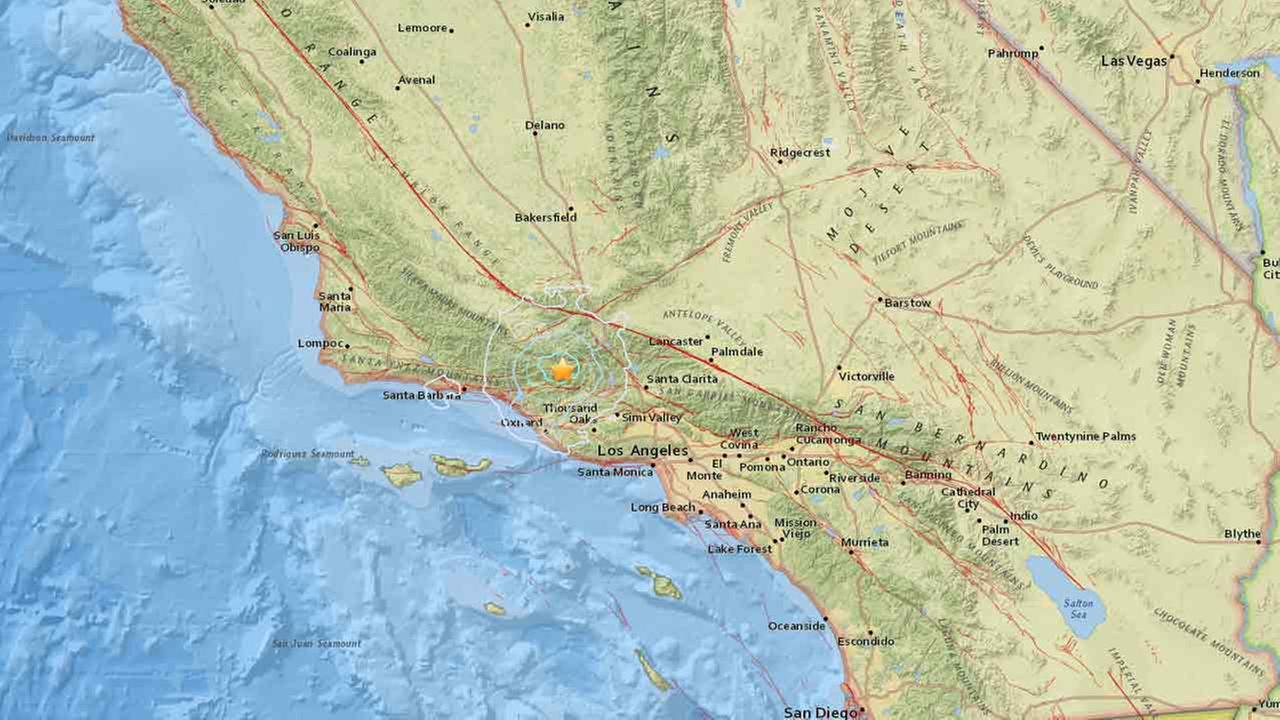 A 4.2-magnitude earthquake strikes near Ojai, Calif. on Saturday, March 12, 2016.