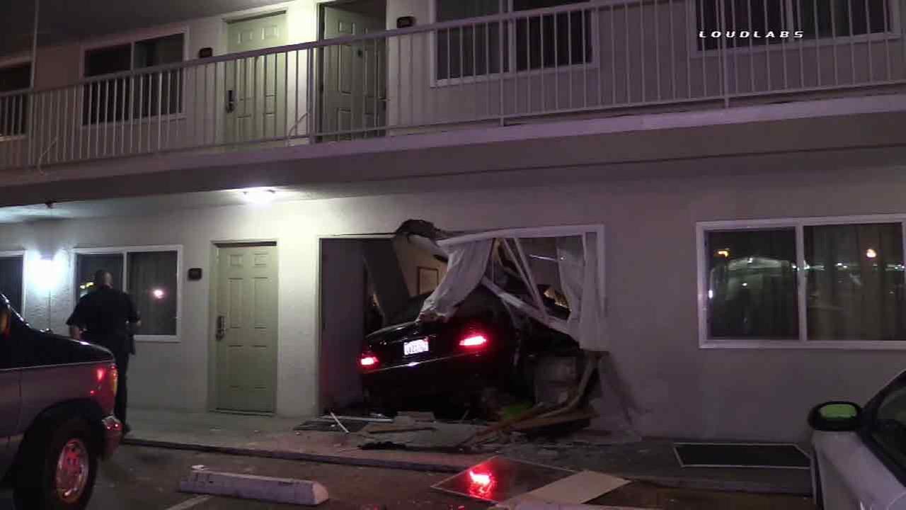 A car crashed into a hotel in San Bernardino, Calif. on Friday, March 11, 2016.
