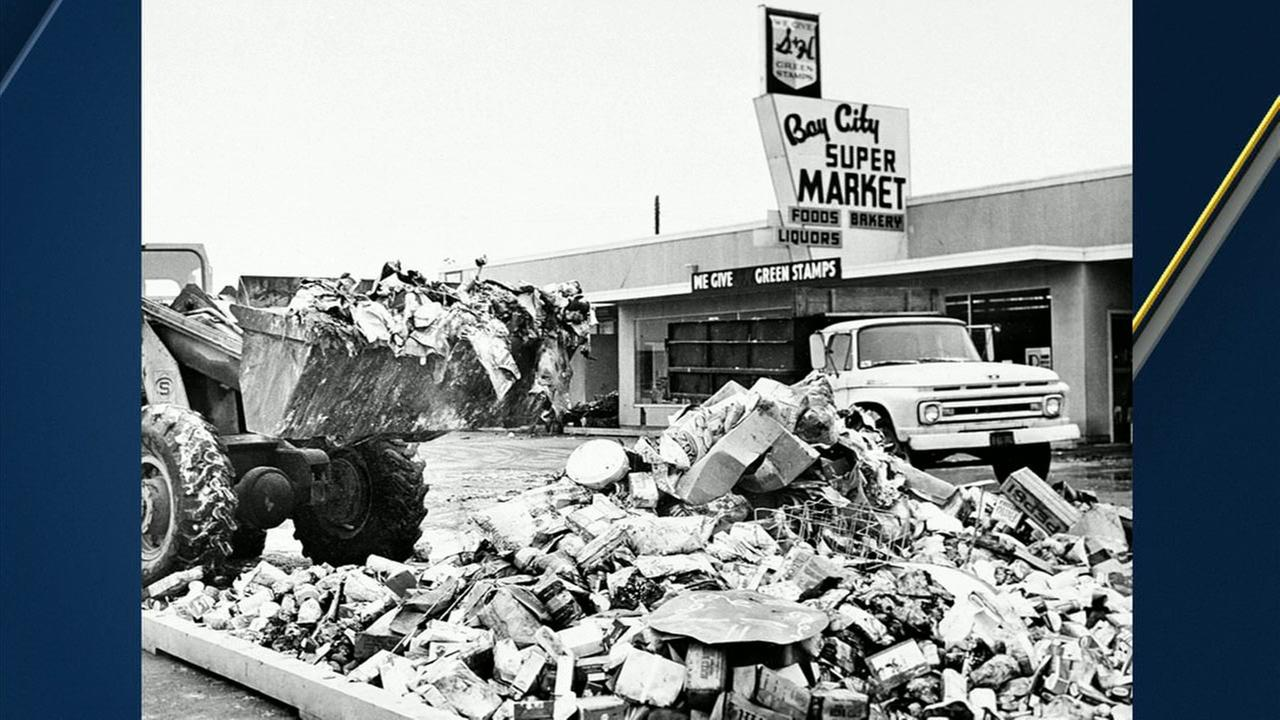 Rubble outside the Bay City Super Market is seen following The Good Friday Earthquake in 1964.