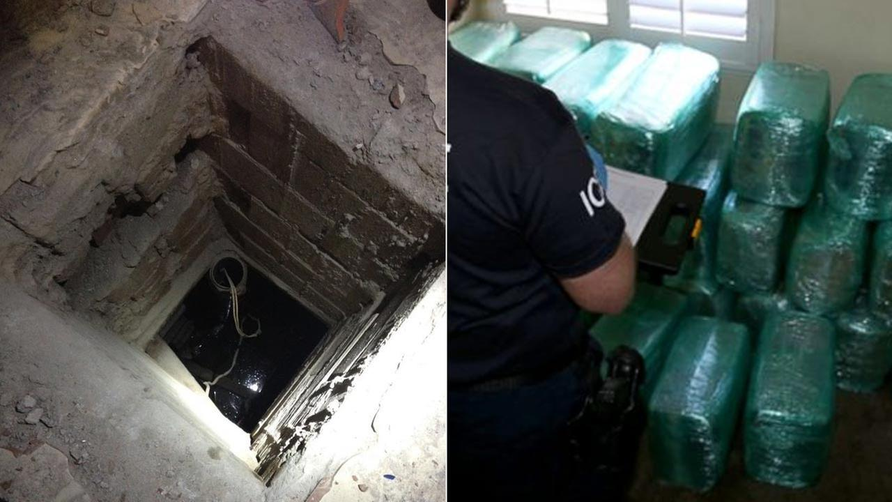 (Left) The opening of a drug tunnel at a restaurant in Mexico. (Right) U.S. Immigration and Customs Enforcement official confiscates marijuana connected to the tunnel.