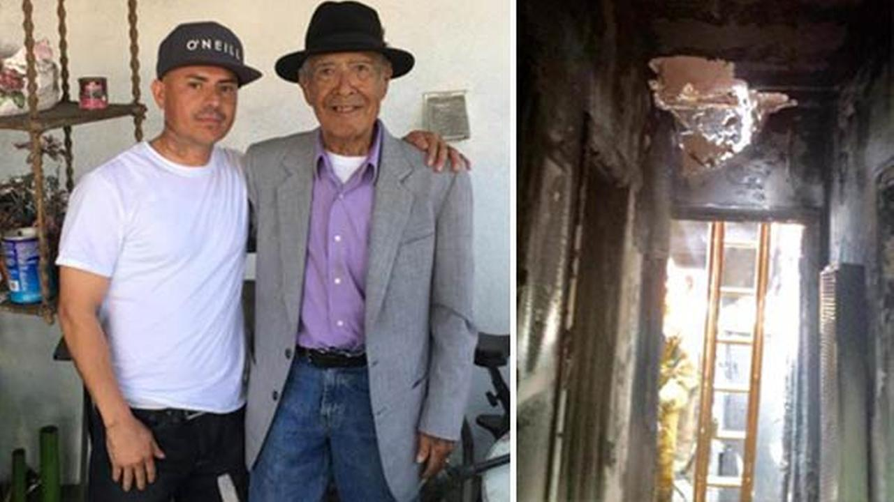 A Good Samaritan helped to keep a World War II veteran safe from a fire in Boyle Heights, Los Angeles on Sunday, March 27, 2016.