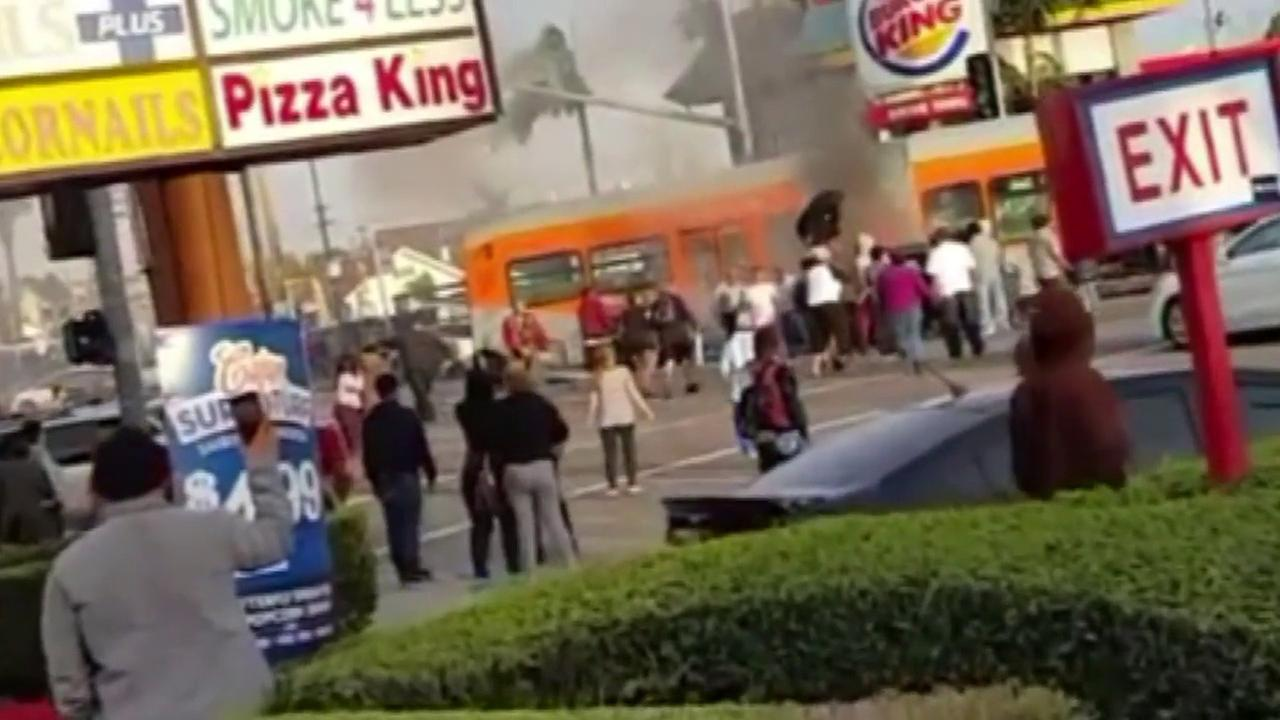 Instagram user IAmSteele used #abc7eyewitness to send ABC7 dramatic video of Good Samaritans rescuing a person trapped after a fiery crash in South Los Angeles.