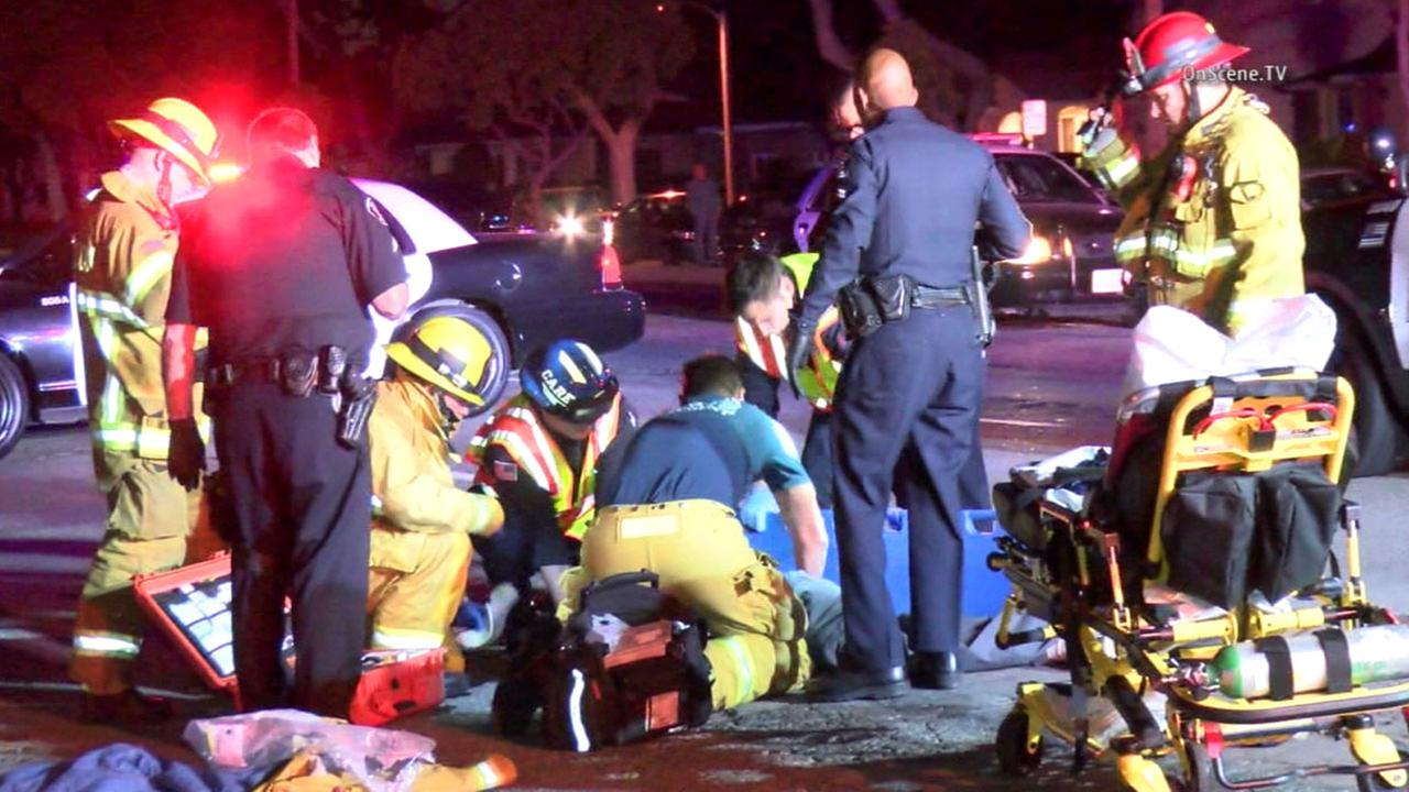 Emergency personnel respond to a hit-and-run crash in the 400 block of W. Orangethorpe Avenue in Fullerton Monday, March 28, 2016.