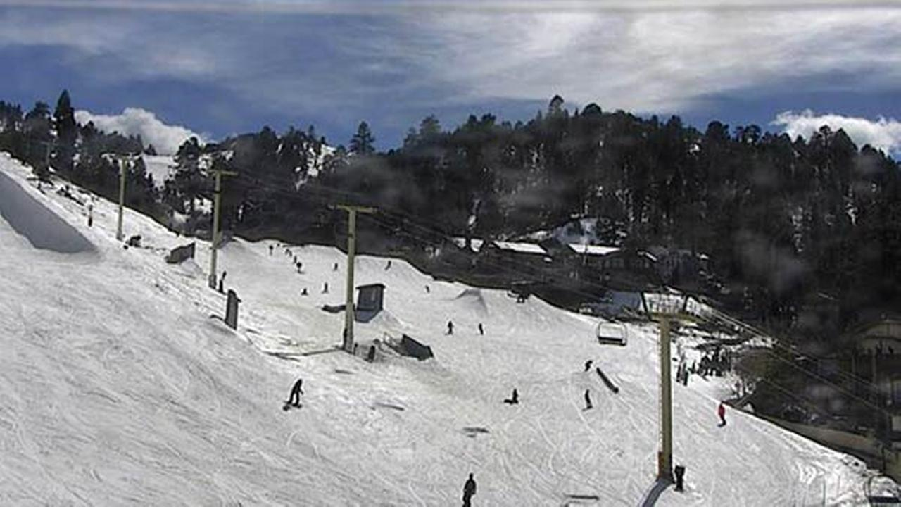 A web camera captures skiers enjoying Bear Mountain on Thursday, March 31, 2016.