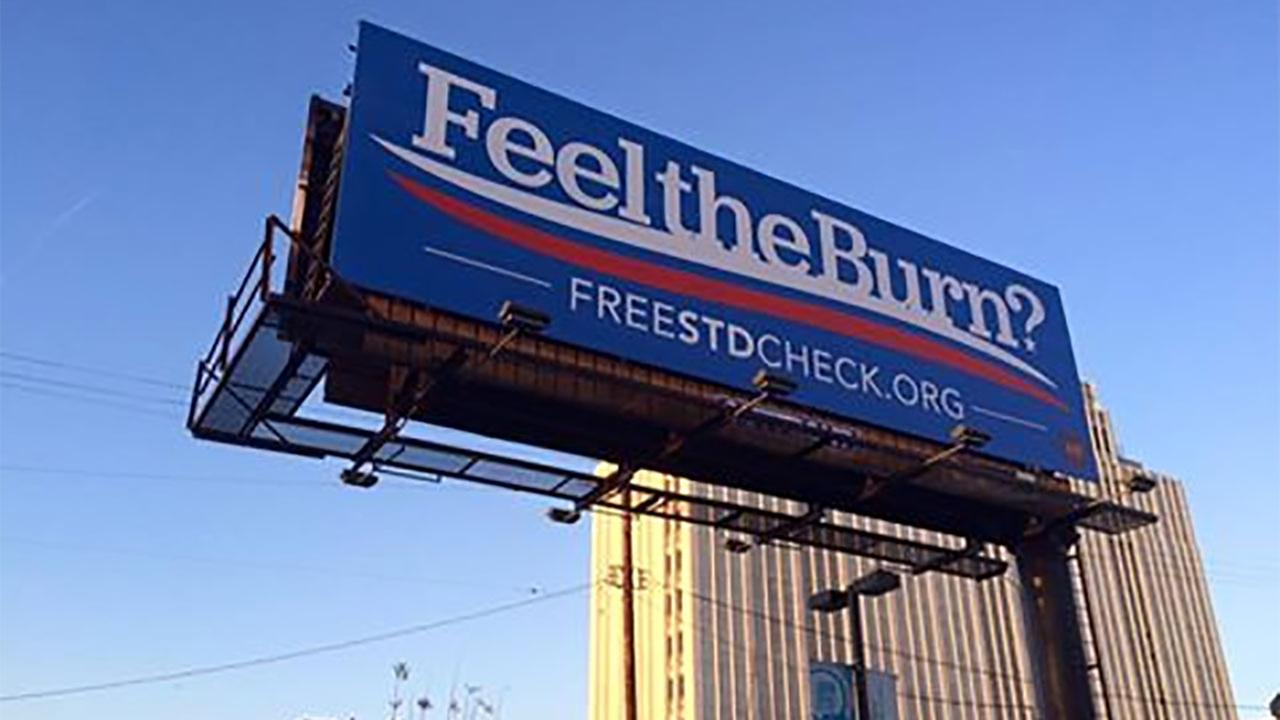 The AIDS Healthcare Foundation has unveiled at least four Feel the Burn? billboards across Los Angeles.