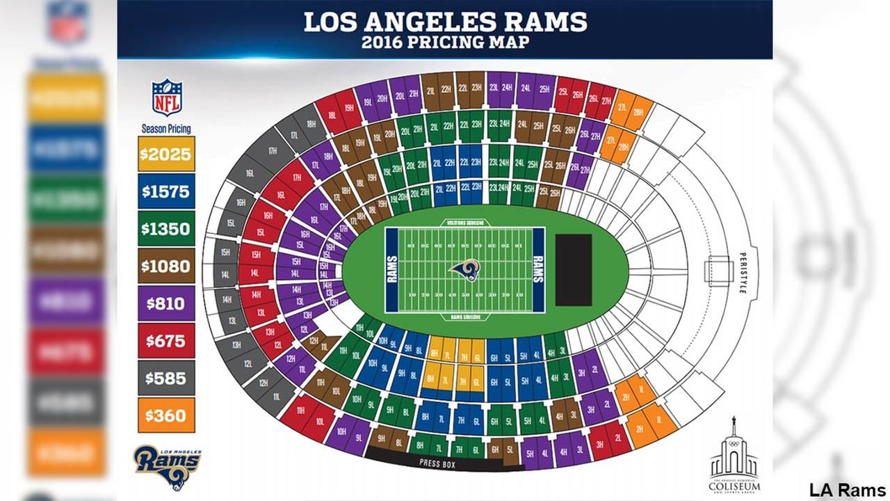 The pricing map for the Los Angeles Rams 2016 season is shown in this image.