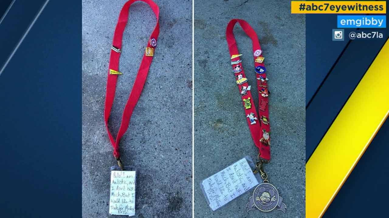 A Disneyland employee posts the picture of a Disney lanyard she found and added 11 pins as she searched for the owner on Saturday, April 1, 2016.