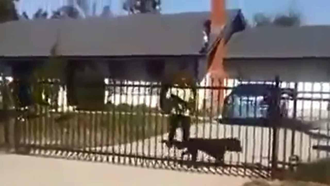 A man is seen shooting at a pit bull at his home near the Perris area on Friday, April 1, 2016.