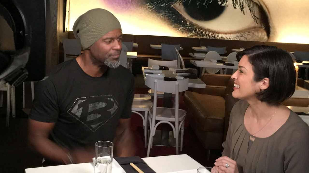 Tina Malave dines with Brian McKnight at Katsuya at L.A. Live in Los Angeles.