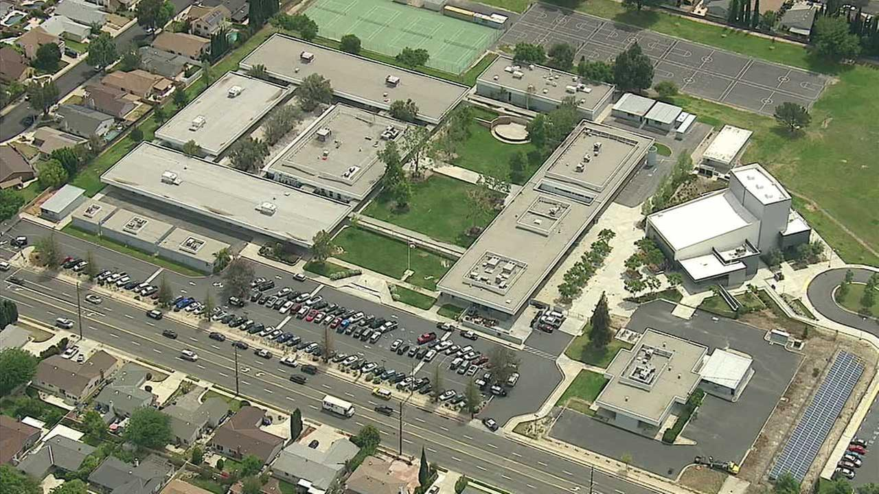 Santa Susana High School in Simi Valley is seen in this aerial view captured by AIR7 HD on Wednesday, April 6, 2016.