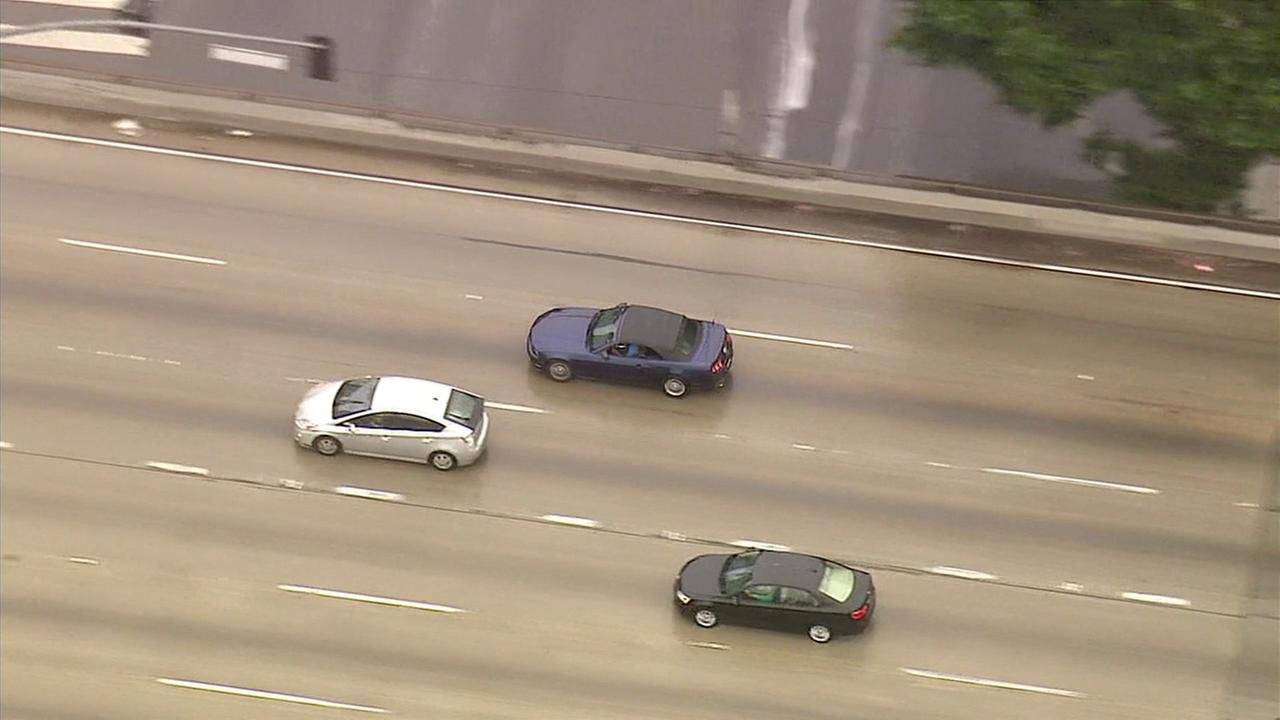 Police chase two burglary suspects in a Ford Mustang through Los Angeles on Thursday, April 7, 2016.