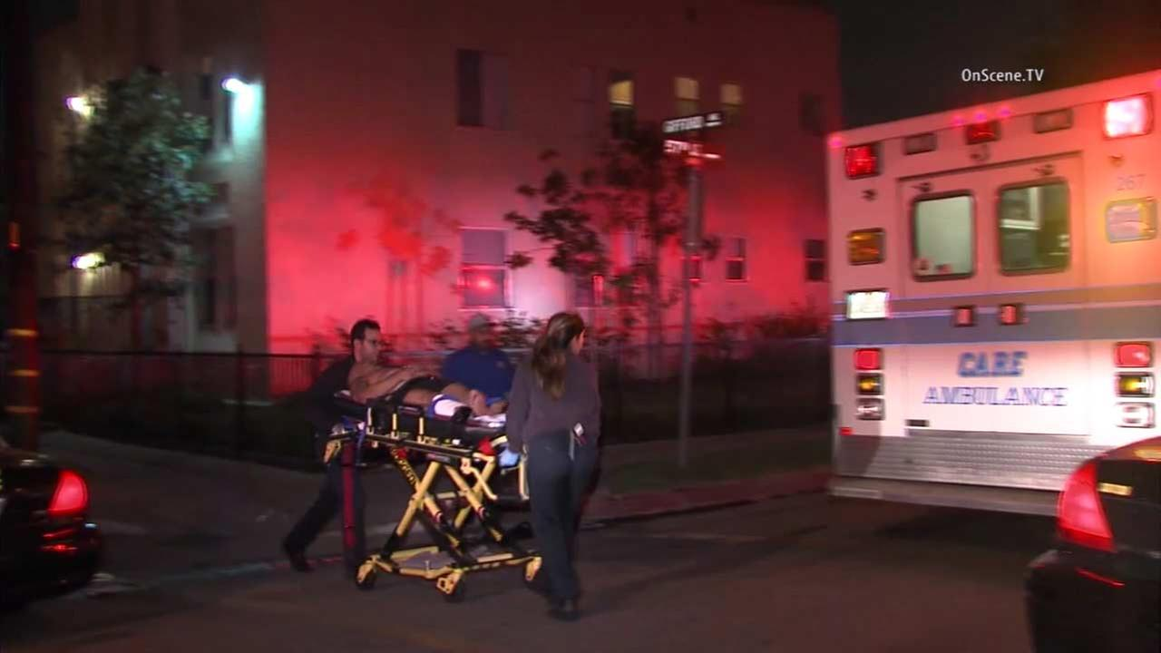 Three people were shot at two locations in Maywood, sheriffs deputies said.