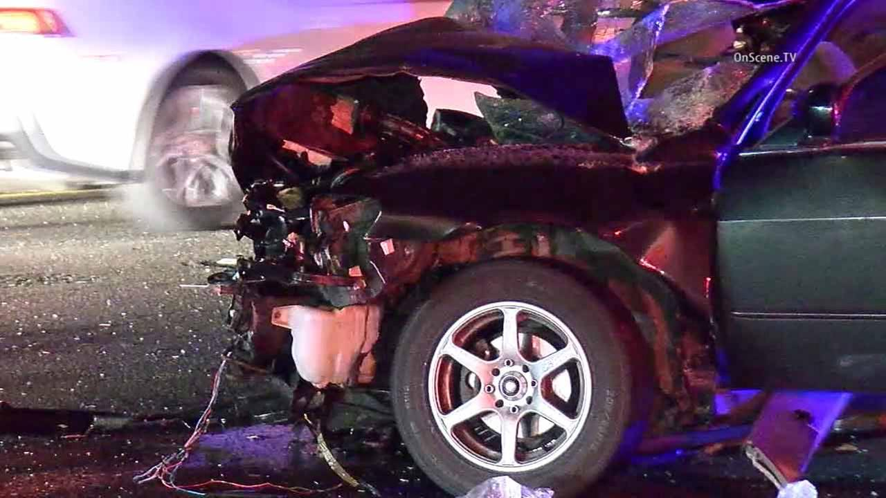 A vehicle is seen with major damage after a fatal multi-vehicle crash in Sherman Oaks on Sunday, April 10. 2016.