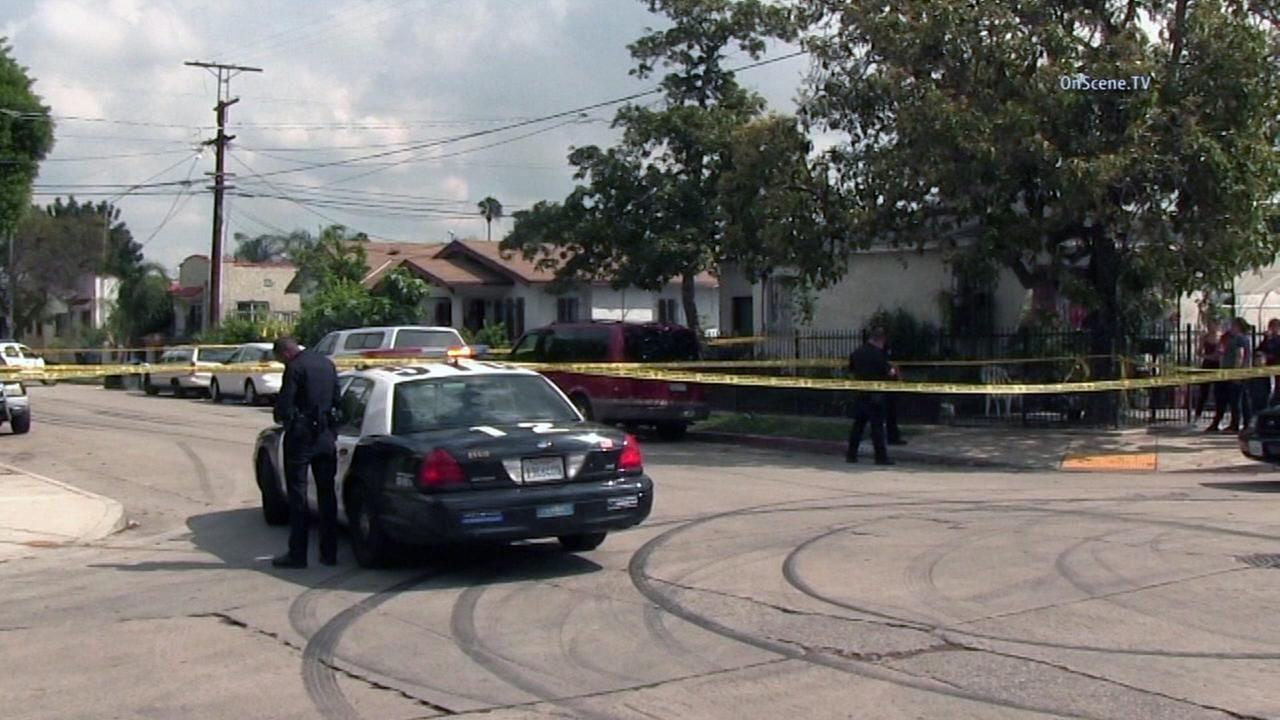 Four men were taken to the hospital after being shot near 84th Street and Towne Avenue in South Los Angeles on Sunday, April 10, 2016.