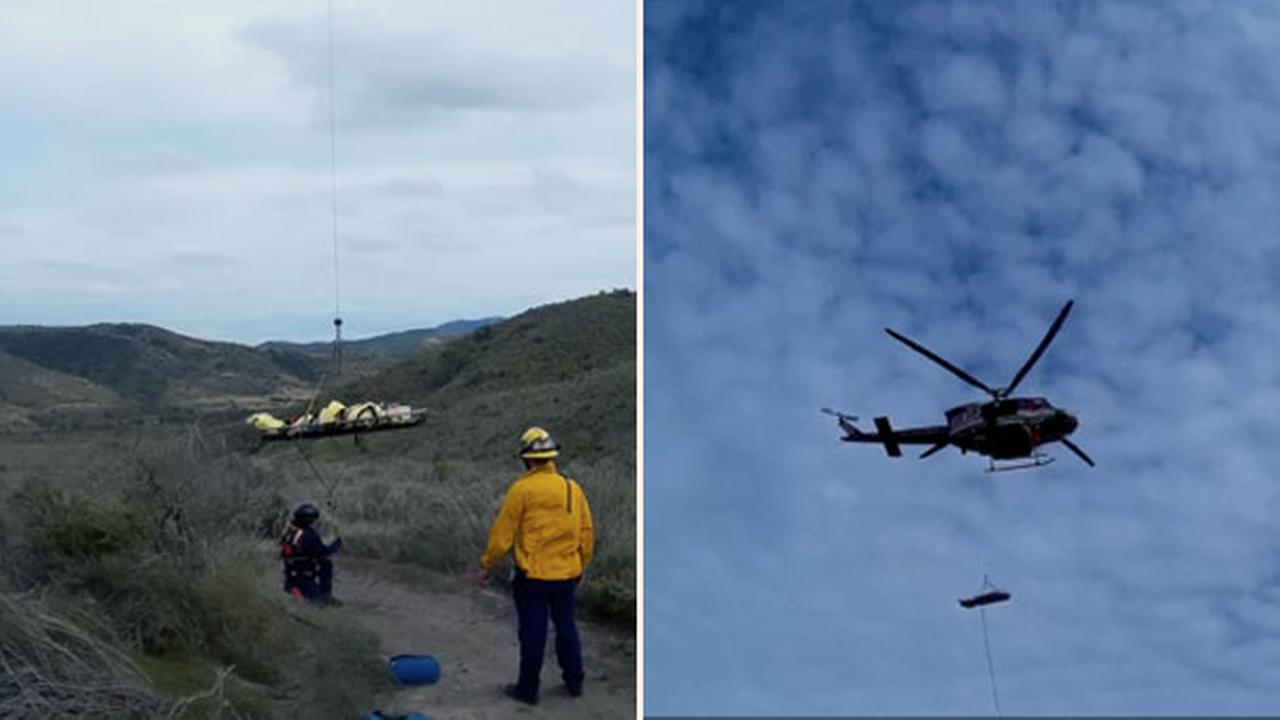 A BMX rider was airlifted to safety after he was impaled by his bike in San Clemente, Calif., on Saturday, April 9, 2016.