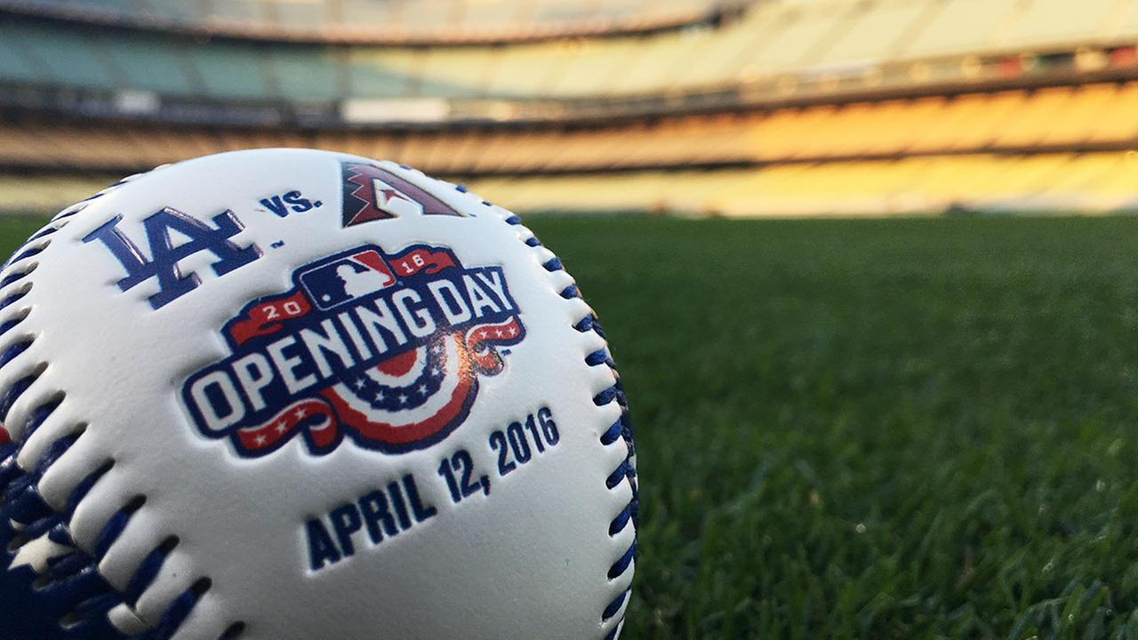 A baseball with opening day decorations is seen in this photo at Dodger Stadium on April 12, 2016.