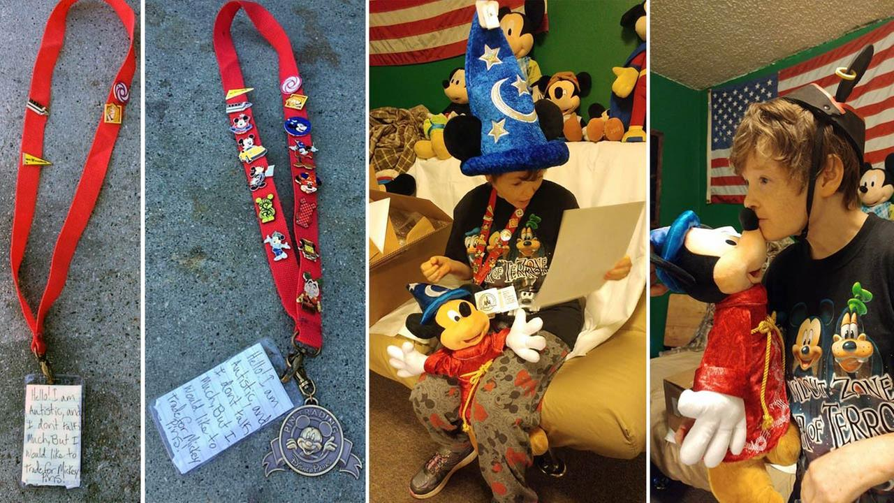 Susie, a young girl with autism, had her lanyard with Mickey Mouse pins returned to her after it was lost at Disneyland.