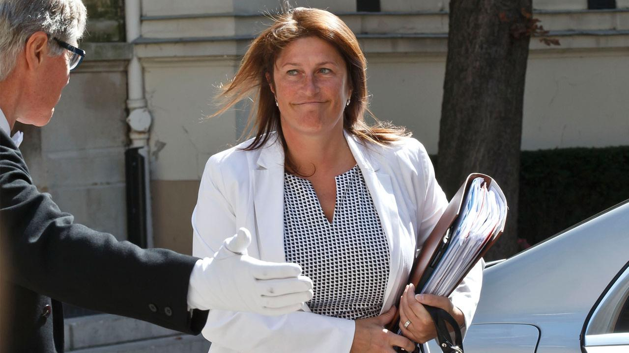 In this Saturday, Aug. 29, 2015 file photo, Belgiums Minister for Mobility Jacqueline Galant, arrives for an emergency meeting in Paris, France.
