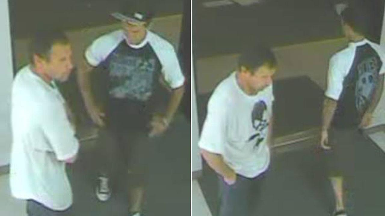 Two men are shown in Huntington Beach Hospital surveillance footage. Authorities need help trying to identify them for questioning.