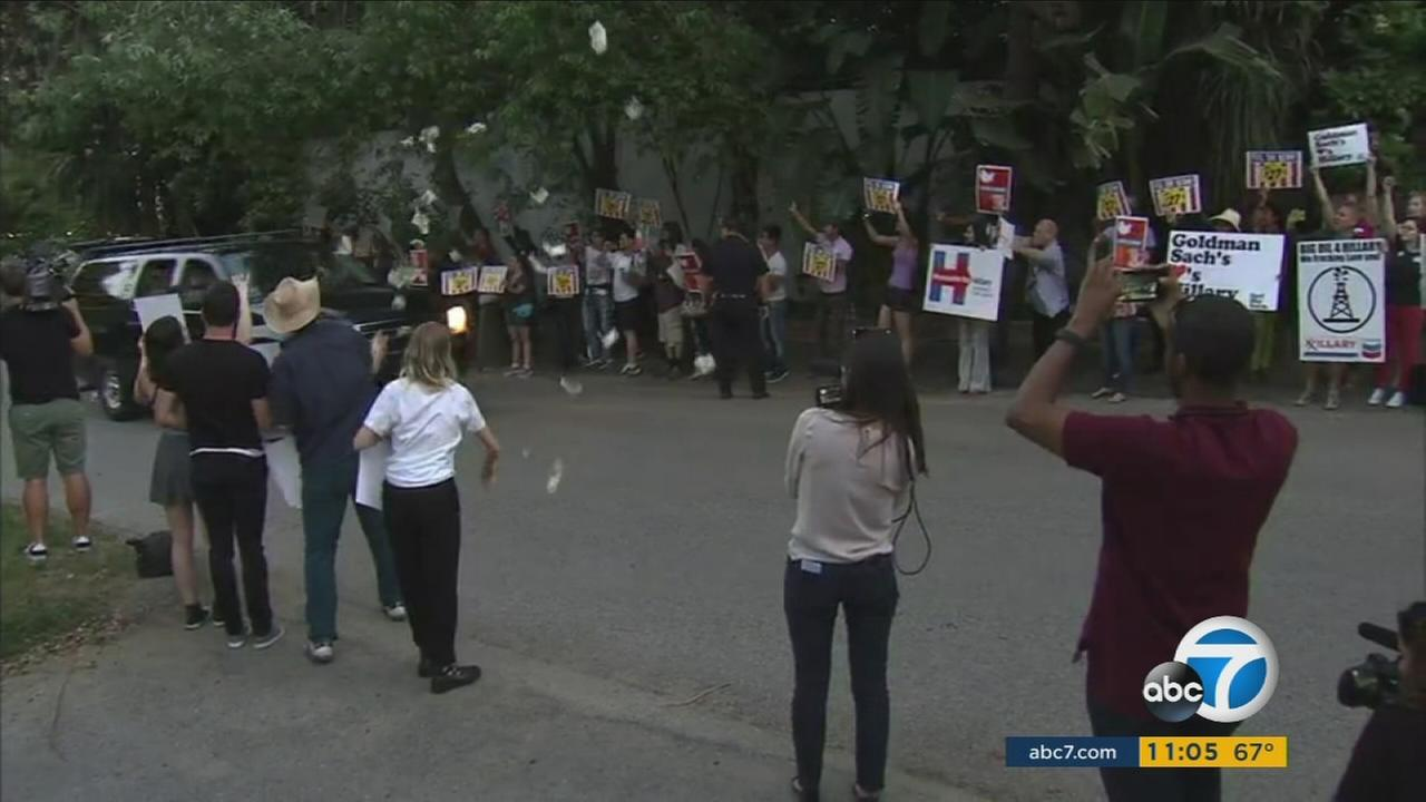 Bernie Sanders supporters protested outside a George Clooney-hosted Hillary Clinton fundraiser in Studio City Saturday, April 16, 2016.