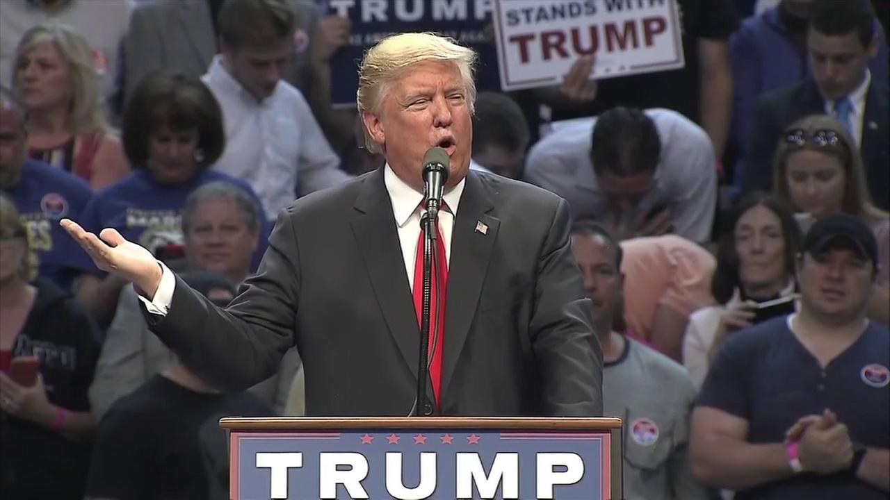 Donald Trump mistakenly referred to 9-11 as 7-Eleven during a rally at the First Niagara Center in Buffalo, New York, on Monday, April 18, 2016.