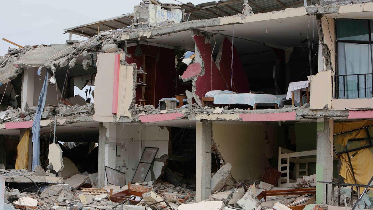 An earthquake destroyed building stands in Pedernales, Ecuador, Monday, April 18, 2016.