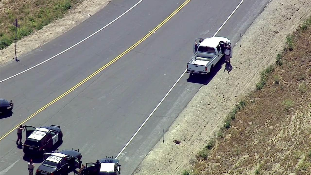 Two suspects in a white Ford pickup truck surrendered to authorities after a half-hour chase from Monrovia to Ontario.