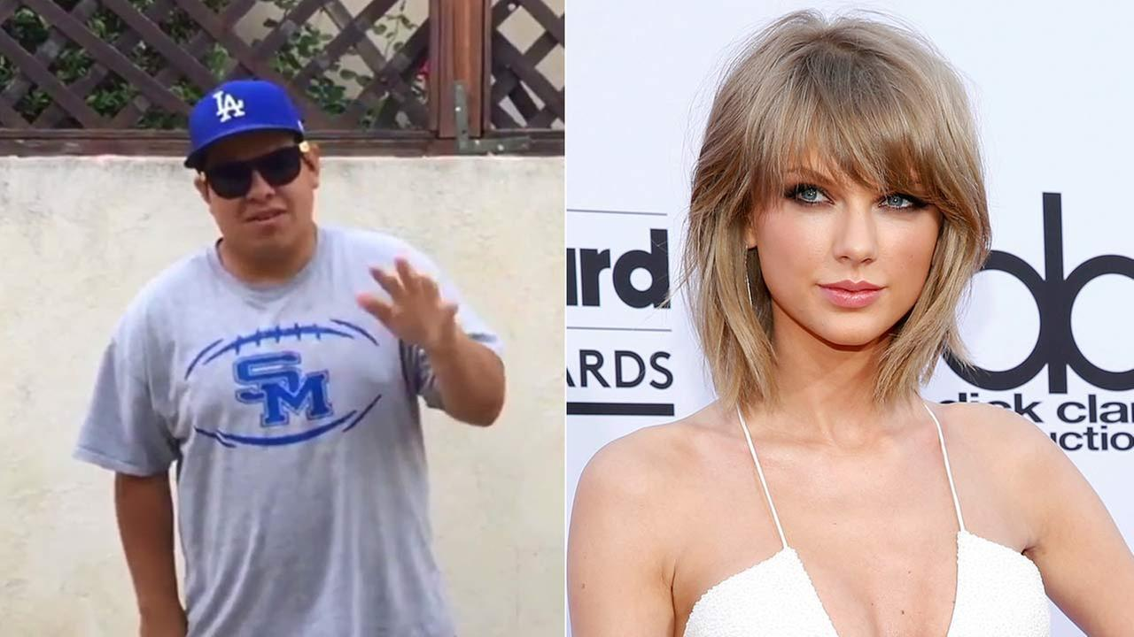 San Marino High School student and Special Olympian Anthony Rodela and Taylor Swift are seen in these images.