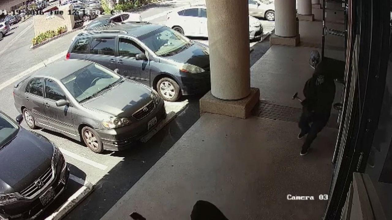 Two suspects were caught on surveillance video robbing Prince Jewelers in the 400 block of E. Huntington Drive in Arcadia Tuesday, April 19, 2016.