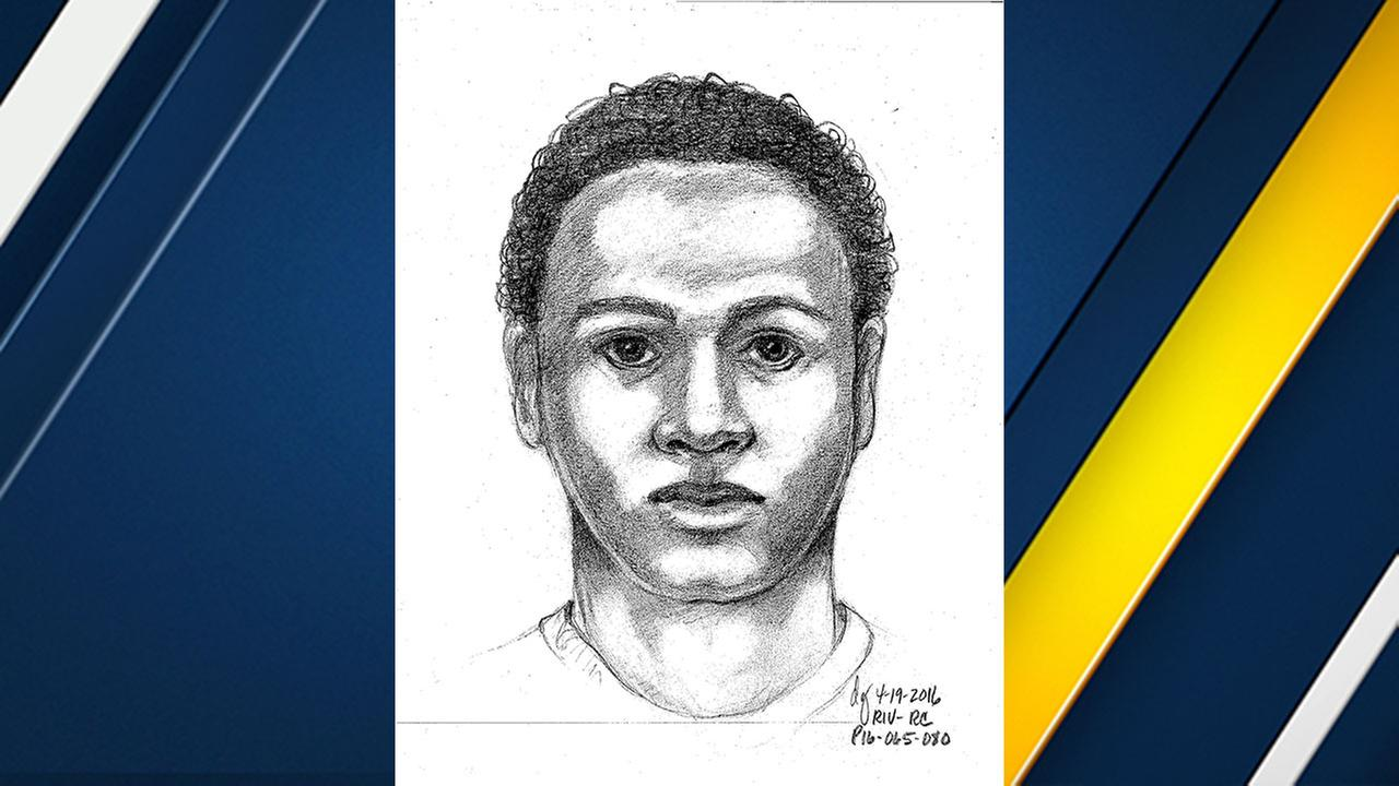 Riverside police released this sketch of one of the two suspects in a sexual assault and home invasion that occurred on April 19, 2016.