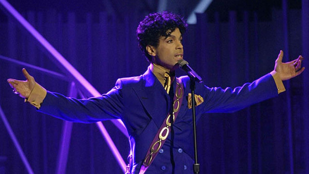 Prince performs during the 46th Annual Grammy Awards in Los Angeles in Feb. 2004.