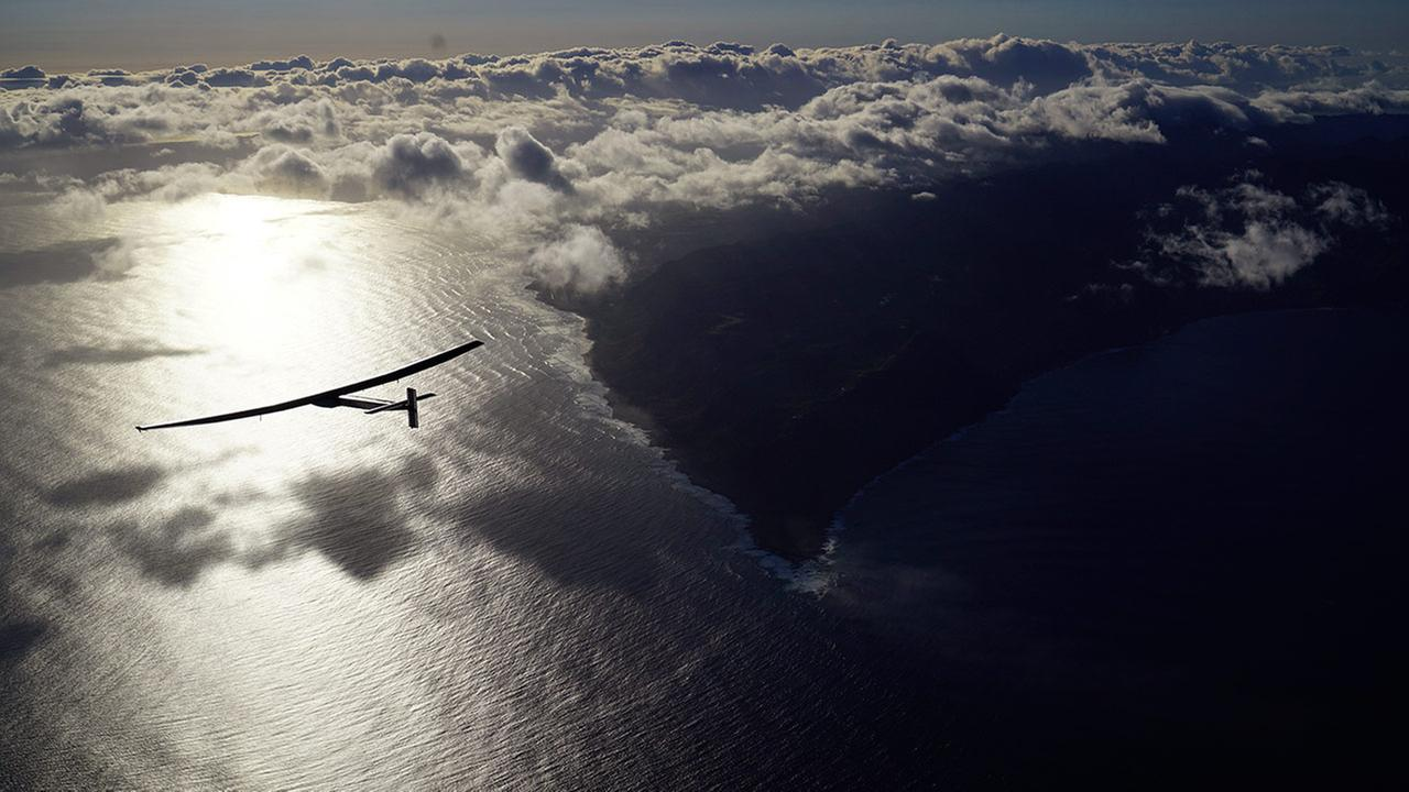 The solar powered plane, Solar Impulse 2, piloted by Bertrant Piccard of Switzerland, is seen in the air Thursday, April 21, 2016.
