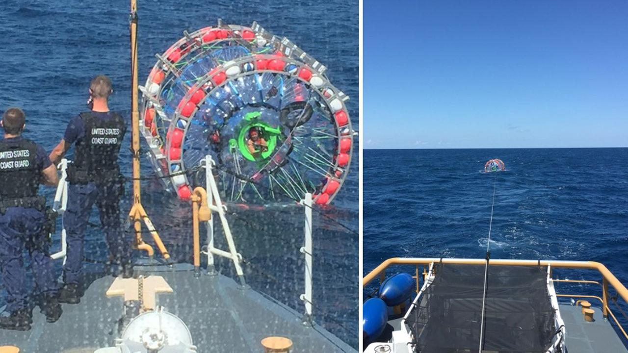 Long-distance runner Reza Baluchi was rescued by the U.S. Coast Guard while attempting to run from Florida to Bermuda in an inflatable bubble.