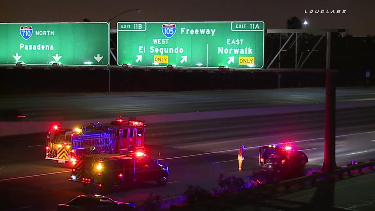 California Highway Patrols investigate a fatal crash on the northbound 710 Freeway in Paramount Tuesday, April 26, 2016.