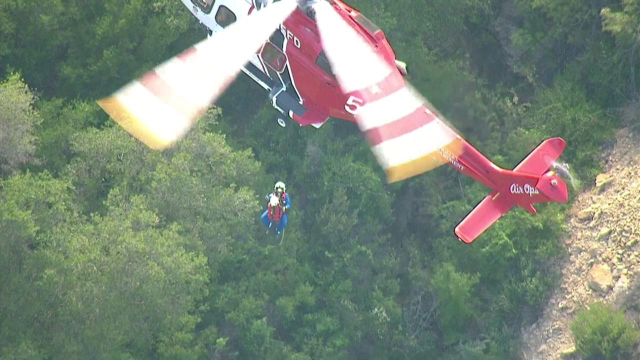 A hiker was rescued in Chatsworth, Los Angeles after two days in rugged terrain on Sunday, May 1, 2016.
