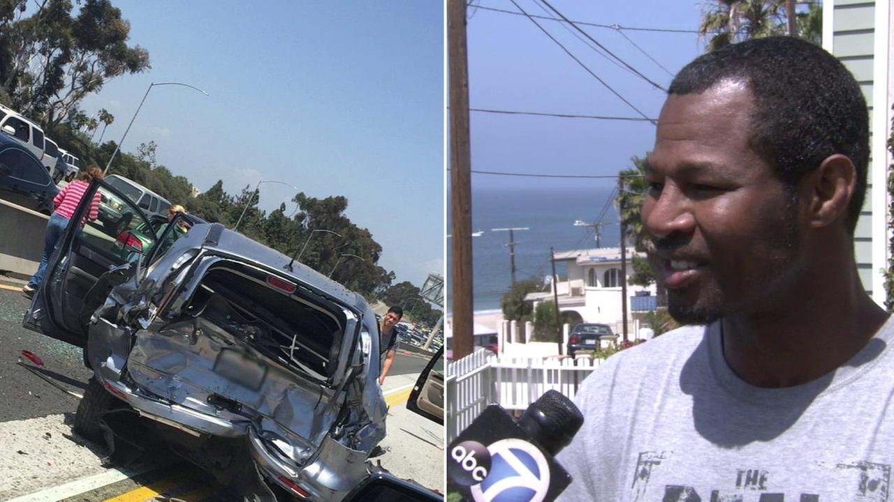 Former world boxing champion Sugar Shane Mosley helped a father and his young son after a multi-car crash on the 405 Freeway on Sunday, May 1, 2016.