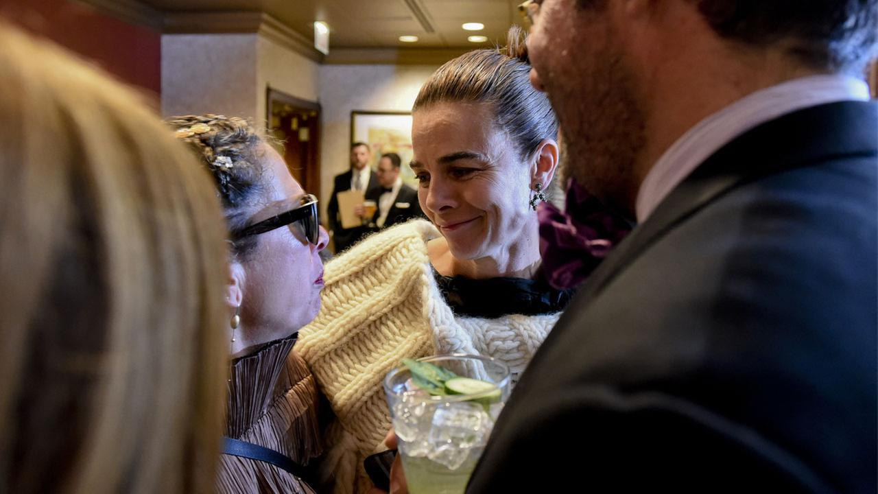 Suzanne Goin, center, from Lucques in Los Angeles, talks in the press lounge during the 2016 James Beard Awards on Monday, May 2, 2016, in Chicago, Ill.