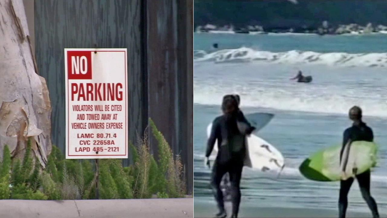 Left: A no parking sign near the beach. Right: Beach goers.