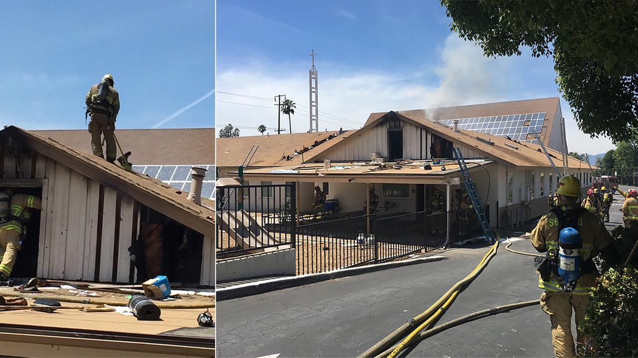 A firefighter fell through the roof of a church while battling a fire in the 600 block of E. Cypress Avenue in Redlands Tuesday, May 3, 2016.
